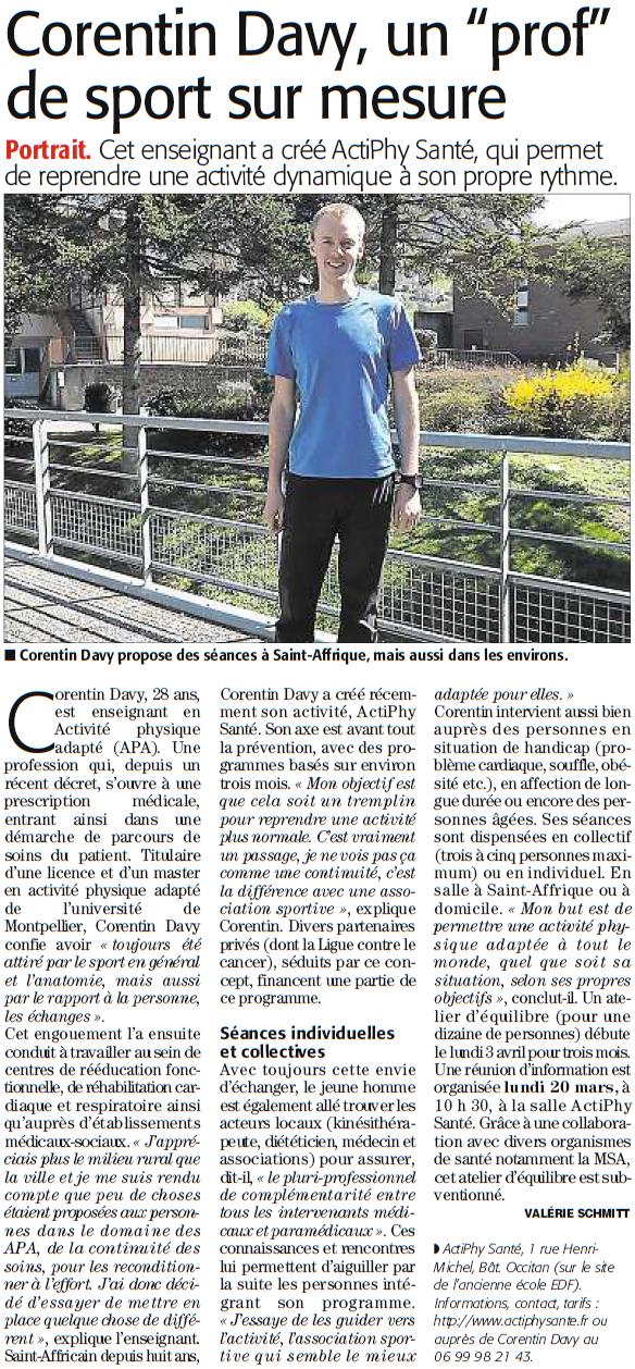 Corentin DAVY, un prof de sport sur mesure_Midi Libre 20032017